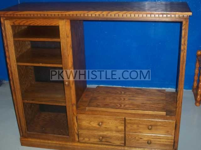 Entertainment center with glass door for VCR