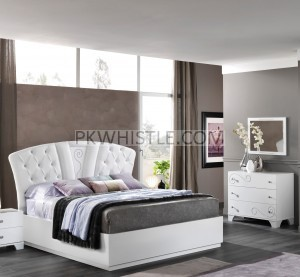 King Size Bed Millianne Italian White High Gloss