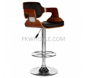 Candice Black Leather Effect and Walnut Wood Bar Stool  adjustable height